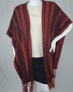 LA Hearts Red and Black Ponchos w/ tassels on ends